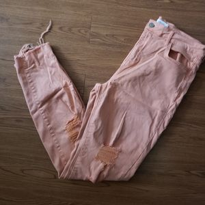 Cello peach distressed skinny jeans. Size …
